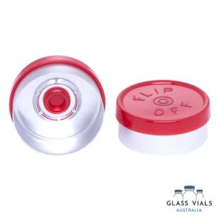 Red Plastic Flip Top Lid - Gloss with Logo 20mm