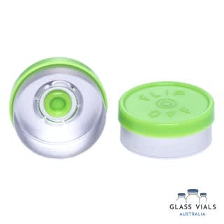 Lime Green Plastic Flip Top Lid Gloss with Logo 20mm